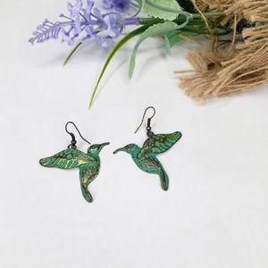 Hummingbird Distressed Painted Dangle Earrings
